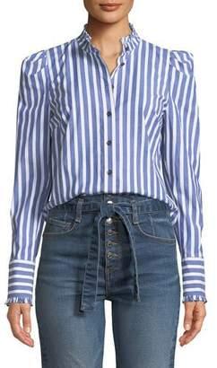 Veronica Beard Holli Striped Strong-Shoulder Button-Front Shirt