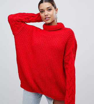 4d5bf7fbb9b9a PrettyLittleThing exclusive cable sleeve knitted sweater in red