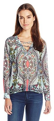 Buffalo David Bitton Women's Mosaic Printed Lace-Up Long Sleeve Blouse $60.52 thestylecure.com