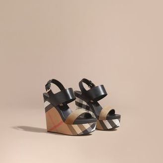 Burberry House Check Leather and Calf Suede Platform Wedges $575 thestylecure.com