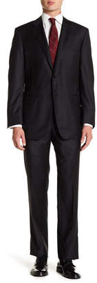 Hickey Freeman Black Two Button Notch Lapel Classic Fit Suit