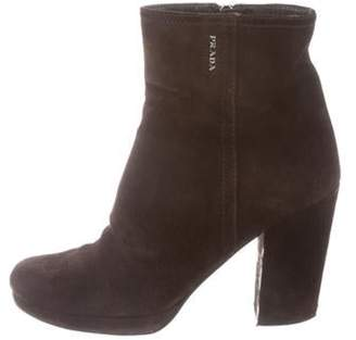 Prada Suede Ankle Boots Brown Suede Ankle Boots