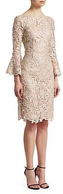 Teri Jon by Rickie Freeman by Rickie Freeman Women's Bell-Sleeve Lace Sheath Dress
