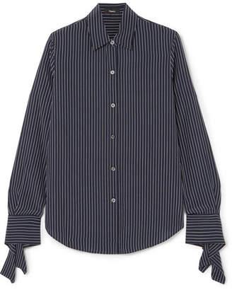 Theory Striped Silk Shirt - Navy