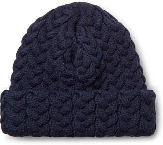 Blue Blue Japan Cable-Knit Beanie - Men - Blue