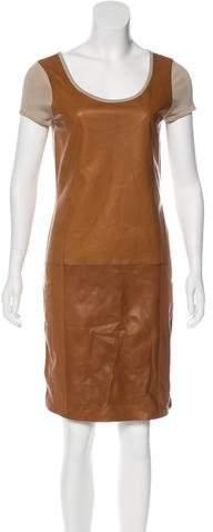 Ralph Lauren Leather-Paneled Knit Dress