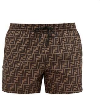 Fendi Ff Printed Swim Shorts - Mens - Brown Multi