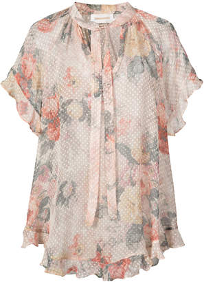 Zimmermann semi sheer floral blouse