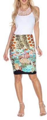 White Mark Women's Animal Printed Pencil Skirt