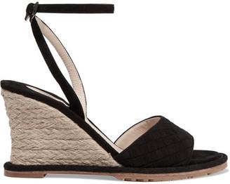 Bottega Veneta - Intrecciato Suede Espadrille Wedge Sandals - Black $920 thestylecure.com