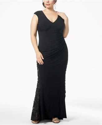 Betsy & Adam Plus Size Ruched Rosette Gown