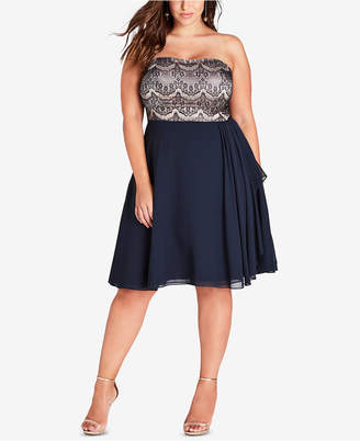 City Chic Trendy Plus Size Lace-Bodice Fit & Flare Dress