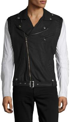 Pierre Balmain Men's Leather Sleeve Motorcycle Jacket