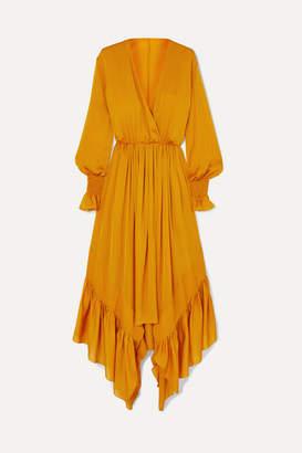 ARJÉ - Ruffled Asymmetric Silk-satin Maxi Dress - Saffron