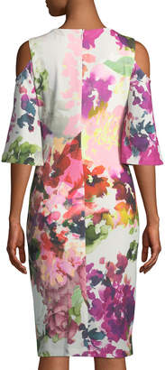 Jax Cold-Shoulder Floral Sheath Dress