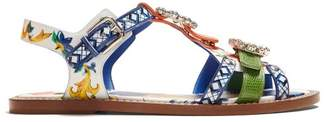 Dolce & Gabbana Majolica Crystal Embellished Leather Sandals - Womens - Blue Multi