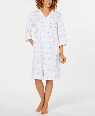 Miss Elaine Printed French Terry Short Zip Robe 5d9963138