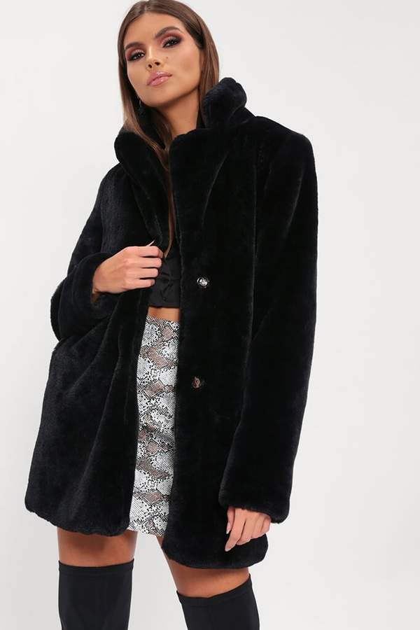 Isawitfirst Black Faux Fur Longline Coat