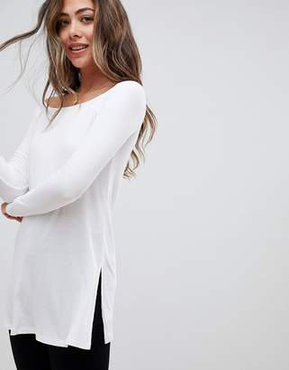 Asos DESIGN Off Shoulder Top in Longline Slouchy Rib