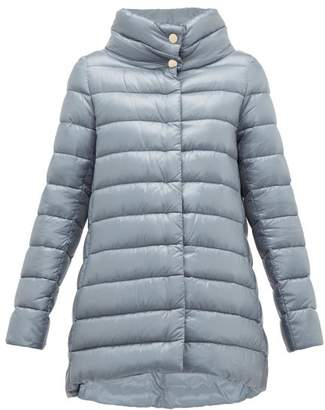 Herno Amelia High Neck Quilted Jacket - Womens - Light Blue