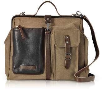 The Bridge Carver-d Canvas Doctor Bag W/leather Front Pocket