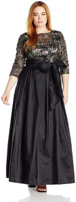 Alex Evenings Women's Plus Size Line Ballgown Evening Dress, Black/Gold, 20W