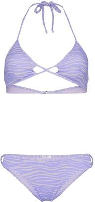 Linea ACK tiger print cutout triangle bikini set