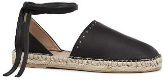 AllSaints Women's Leather Ankle Tie Espadrille Flats