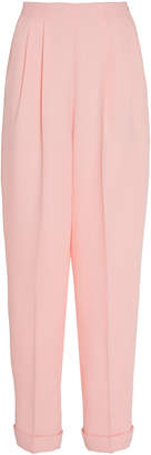 DELPOZO Pleated Straight-Leg Crepe Pants