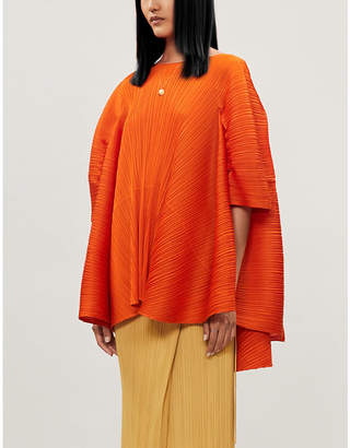 Pleats Please Issey Miyake Boat-neck oversized woven pleated top