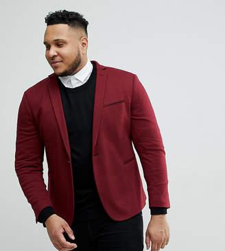 Asos DESIGN Plus super skinny blazer in burgundy jersey