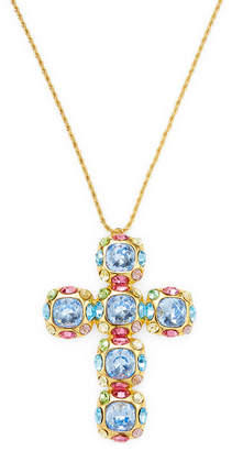 Kenneth Jay Lane Multi-Stone Cross Necklace