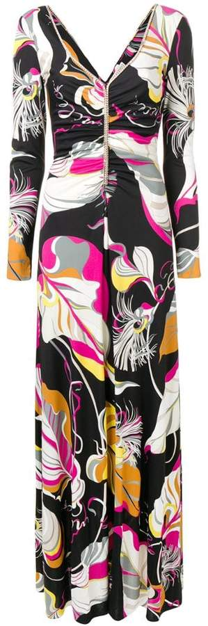 psychedelic leaf print dress