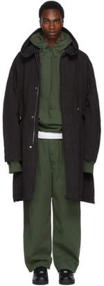 Juun.J Black Construct Hooded Coat