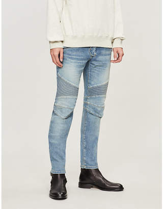 Balmain Ribbed-panel slim-fit mid-rise jeans