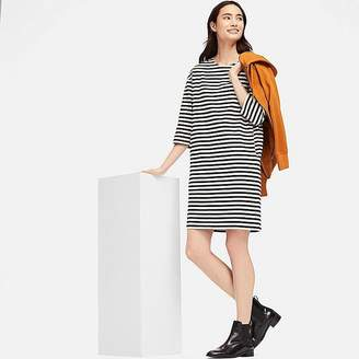 Uniqlo Women's Striped Crewneck 3/4 Sleeve Dress