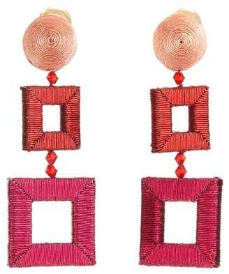 Oscar de la Renta Wrapped Double Square Clip On Earrings