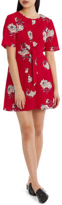 Miss Shop Tie Waist Print Dress - Red Floral