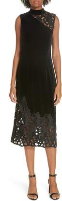 Alice + Olivia Kiana Velvet & Lace Midi Dress