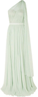 Alexander McQueen One-shoulder Crinkled Silk-chiffon And Satin Gown - Mint