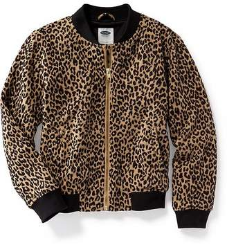 Leopard-Print Jacquard Bomber Jacket for Girls $34.99 thestylecure.com