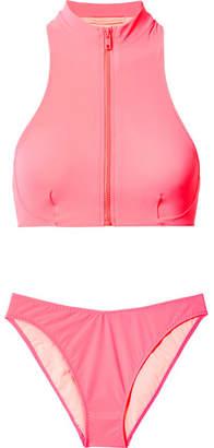 Stella McCartney Zip-embellished Neon Bikini - Fuchsia