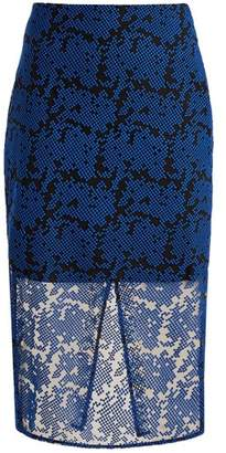 Diane von Furstenberg Geometric Embroidered Tulle Pencil Skirt - Womens - Blue