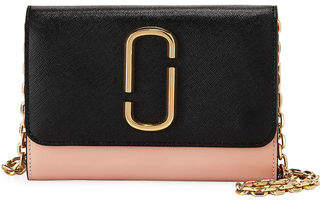 Marc Jacobs Two-Tone Saffiano Leather Wallet On A Chain