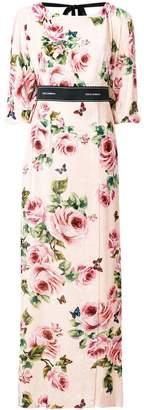 Dolce & Gabbana rose print brocade long dress