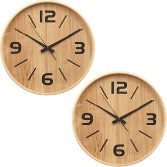 Amalfi by Rangoni Frankie Wall Clock, Black, 30cm (Set of 2)