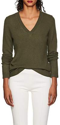 Barneys New York WOMEN'S CASHMERE V-NECK SWEATER - DK. GREEN SIZE XS