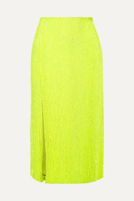 retrofete Veronica Sequined Chiffon Midi Skirt - Yellow