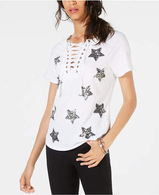 INC International Concepts Inc Sequin-Star Cotton Lace-Up T-Shirt