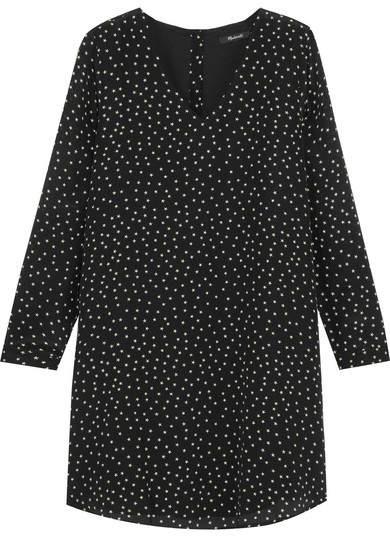 Madewell - Star-print Silk Crepe De Chine Mini Dress - Black